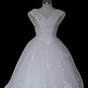 1980s/1990s Fairytale Princess Cinderella Wedding Dress White Lace