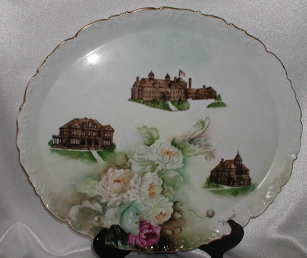 HUGE! T & V Limoges Brightside Oval Tray 1895-1907 Peonies Orphanage & Hospital Buildings Sister Mary Gonzaga Sisters Of Providence