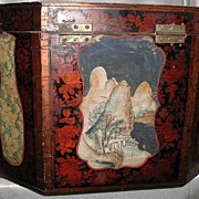 Antique Chinese Octagonal Wood Box Hand Painted Scenes Dovetail  Large  Floral Wood