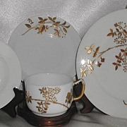 A Klingenberg AK Limoges France 4 Pc Breakfast Snack Dessert Set Heavy Floral Gold Beading Early 1880s Wine Glass Mark