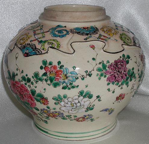 Old Japanese Satsuma Earthenware Jar Kinkozan Zho Birds Butterflies Raised Enameling Red Yellow Purple White Flowers
