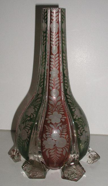 Vintage Bohemian Glass Flashed Green & Rose Footed Vase Etched Floral Panels