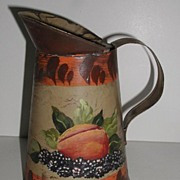 Vintage Tole Ware Toleware Hand Painted Peach & Blackberries Pitcher Creamer
