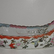 Old & Scarce Japanese Boat Shaped Bowl Birds Floral Radiating Lines On Bottom