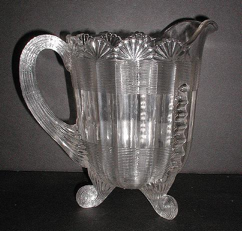 """Northwood Glass Co. EAPG 1800s Clear Fluted Scrolls Pitcher 7.75"""" Footed Scrolled Feet"""