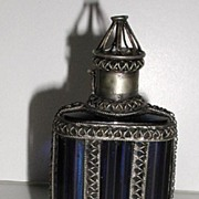 Highly Unusual & Unique Cobalt Blue Glass Perfume / Scent Bottle Pewter Enclosed Cage Vertical Ribbing