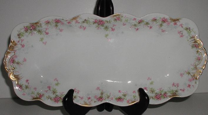 """12"""" Jean Pouyat French Limoges JPL Celery Dish Pink Flowers Embossing Scalloped Brushed Gold"""