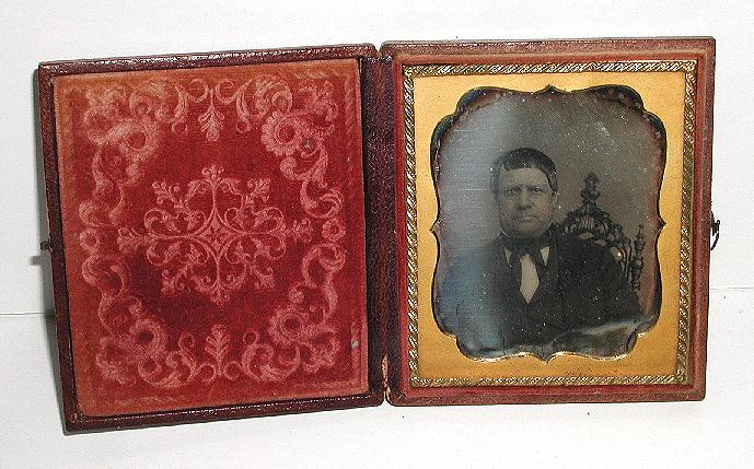 Lovely Leather Bound Floral Daguerreotype Case With Seated Man 1850s