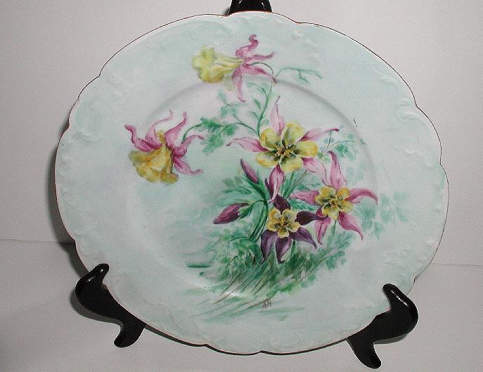 """Lovely Artist Signed Haviland Limoges France 9.75"""" Plate Purple Pink Yellow Hand Painted Columbine Flowers Powder Blue Background."""