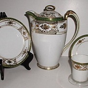 Spectacular 18 Pc Hand Painted Noritake Chocolate Pot Set Heavy Gold Floral Overlay Beading white & Green Background