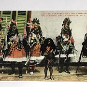 Vintage Early 1900s Postcard Natives Representing Wild Indians On Carnival Day Trinidad B W I  Postally Unused.