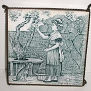 1800s Josiah Wedgwood & Sons Etruria Blue & White Tile On Metal Trivet Month Series Helen J. A. Miles