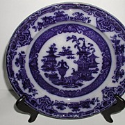 "Podmore Walker & Co. Staffordshire England Flow Blue 9.75"" Plate The Temple 1849-1859"