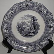 Spectacular Cotton & Barlow Longton England Blue & White Transferware Plate Medina Pattern 1850-1855