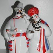 Russian Kiev Experimental Ceramic Factory Peasant Man & Woman Carrying Pig  Figurine Bag Of Belongings Colorful Marked