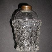 Large EAPG Sandwich Glass Whale Oil Lamp 1800s Diamond Pattern