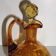 Old 1800s Ruffled Rim Amber Glass Cruet Matching Stopper Thumbprint Pattern Applied Handle