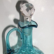 Old Royal Blue Glass Cruet Ruffled Rim Thumbprint Design Applied Handle