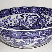 """1800s Magnificent Dark Blue & White Porcelain Oriental Bowl Central Bird Flowers Trees Scalloped Fluted 12"""""""