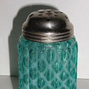 Exquisite Victorian 1800s Blue Opalescent Glass Sugar Shaker Ribbed Cris Cross