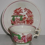 1800s Staffordshire Pink Luster Lusterware Lustre Cup & Saucer Hand Painted Oriental Scene Polychrome