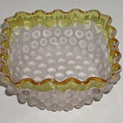 1880 EAPG Hobbs Brockunier & Co Frances Ware Frosted Hobnail Dewdrop Bowl