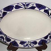 Petrus Regout Maastricht Holland Hand Painted Cobalt Floral Oval Platter
