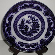 """Podmore Walker & Co. Staffordshire England Flow Blue 7"""" Plate The Temple"""