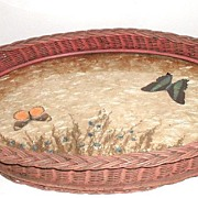 Vintage Two Handle Large Wicker Serving Tray Butterflies Under Glass