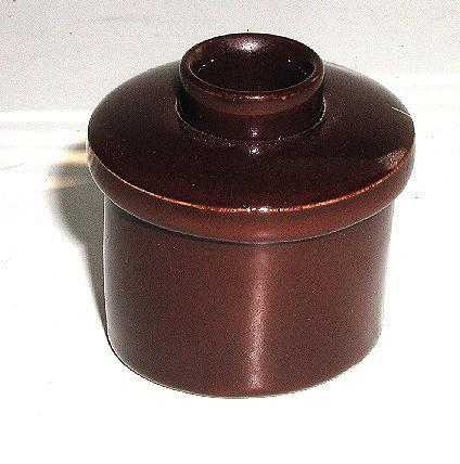 1800s Glazed Brown Pottery Angled Inkwell Slant Top Desk Turn Open Close