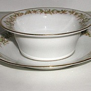 Charles Ahrenfeldt Limoges Ramekin Cup & Matching Saucer Liner Floral Scrolls Green & Beige Gold