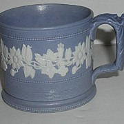 1800s Superb English Salt Glaze Pottery Blue & White Jasperware Floral Mug Beading