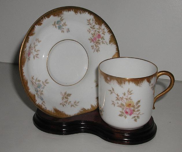 Exquisite Delinieres & Co. D & C. Limoges Demitasse Cup & Saucer Green Leaves Blue Forget Me Nots Pink Roses Brushed Gold