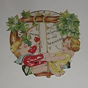 Vintage 1900s Hallmark Mechanical Tree Swing Valentine's Day Card Take A Swing With Me