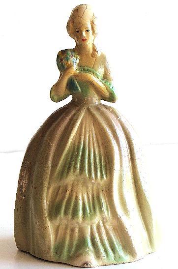 Antique Chalkware Figurine Victorian Woman Bouquet Balloon Dress Corona