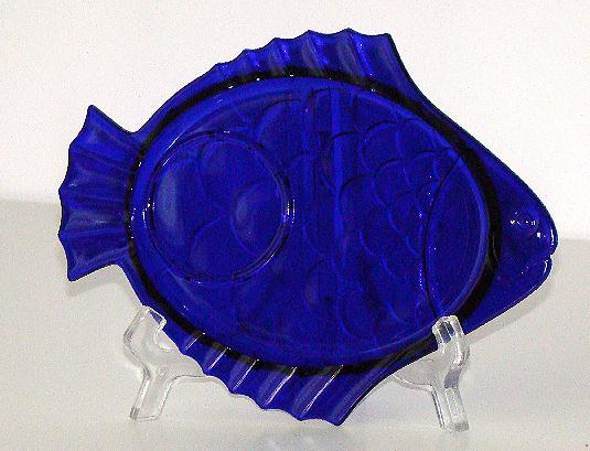 1930s Imperial Glass Co Cobalt Blue Fish Snack Tray Scales