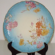 Jean Pouyat Limoges JPL Handpainted Dahlia Plate Salmon Pink Yellow Sky Blue Gold Embossed