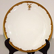 "Haviland Limoges Monogrammed ""F"" 7.5"" Plate Pickard Decorated GOLD Beading"