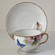Very Scarce Hand Painted Nippon Azalea & Butterfly Cup And Saucer GOLD