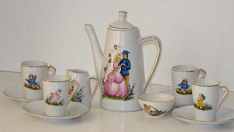 Carl Schumann Arzburg Bavaria 11 Pc. Child Tea Set Central Prince & Princess GOLD Trim