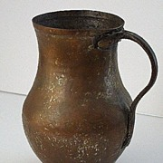 Early Primitive Hand Hammered Handled Copper Water Jug vessel