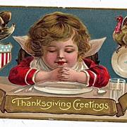1908 Embossed Thanksgiving Greeting Postcard Adorable Cherub Eagle Turkey American Flag Shield