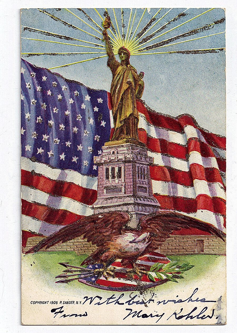 Early 1906 Embossed Patriotic Postcard Statue Of Liberty And Eagle Gold Glitter