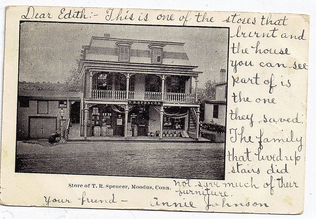 1906 Moodus Connecticut Postcard T.R.Spencer Destroyed By Fire 1906