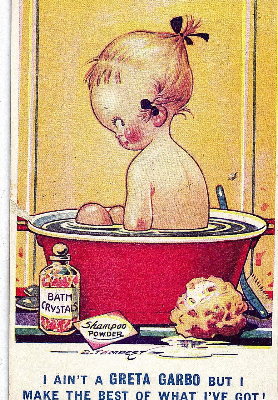 1934 Artist Signed D. Tempest Kid Comics Postcard I Ain't A Greta Garbo