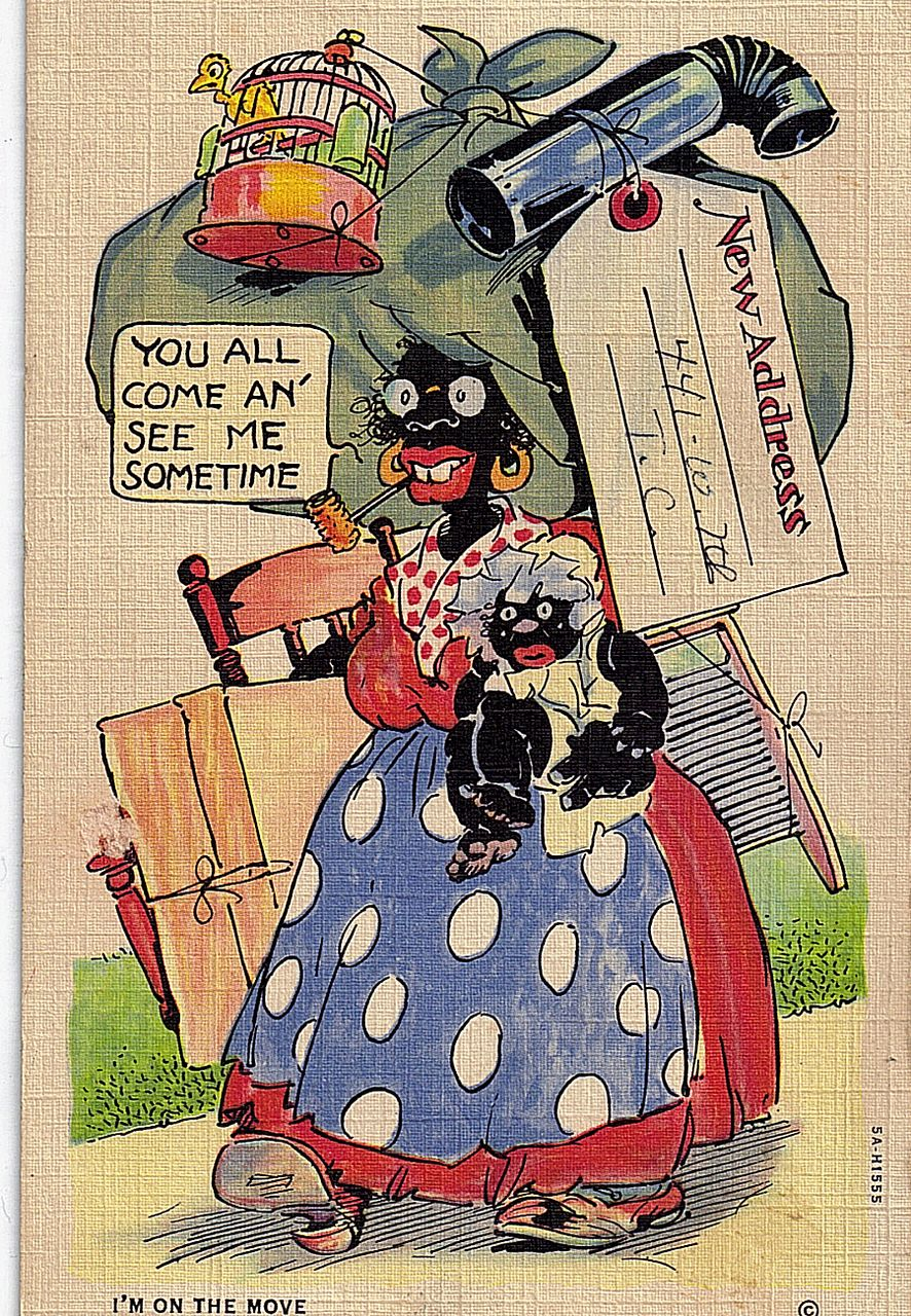 1930s Black Americana Caricature Linen Postcard Write To Me I'm On The Move