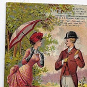 1885 Victorian Acorn June calendar Trade Card Acorn Collars & Cuffs S.L. Munson Co.