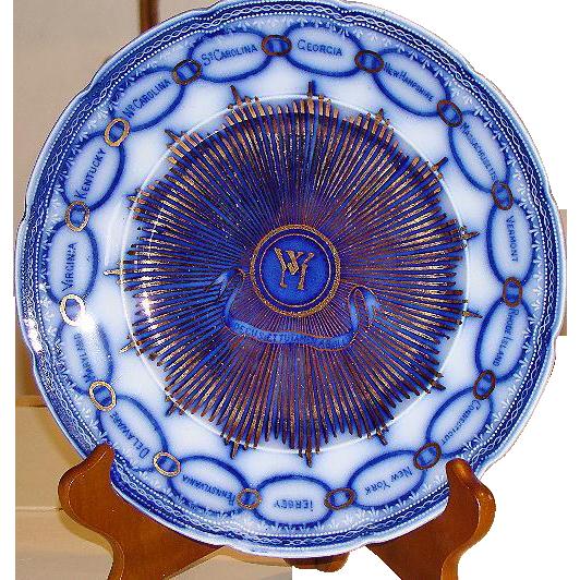 Flow Blue Martha Washington AKA Chain Of States Plate