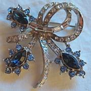 Vintage Royal Blue & Crystal Rhinestone Pin/Brooch