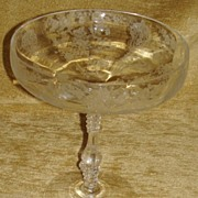 """Rare Cambridge Crystal """" Rose Point """"  6"""" Comport"""